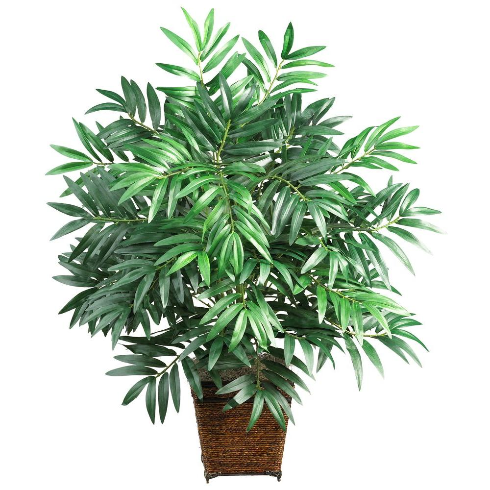 Nearly Natural 32 in. Bamboo Palm Silk Plant with Wicker Basket