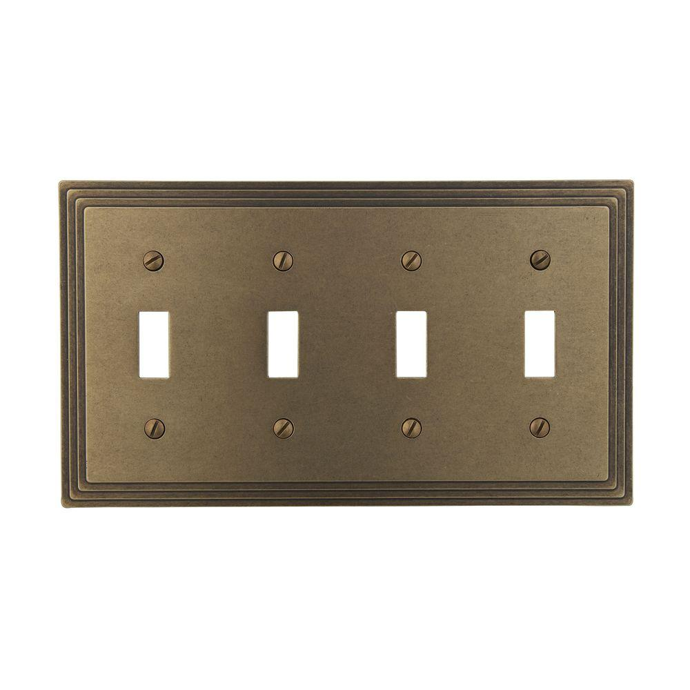 Steps 1 Toggle Wall Plate - Rustic Brass