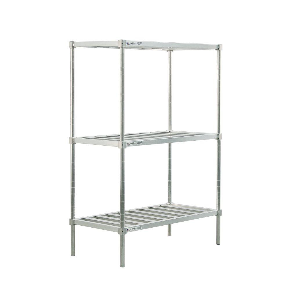 New Age Industrial 3-Shelf Aluminum T-BAR Style Adjustable Shelving