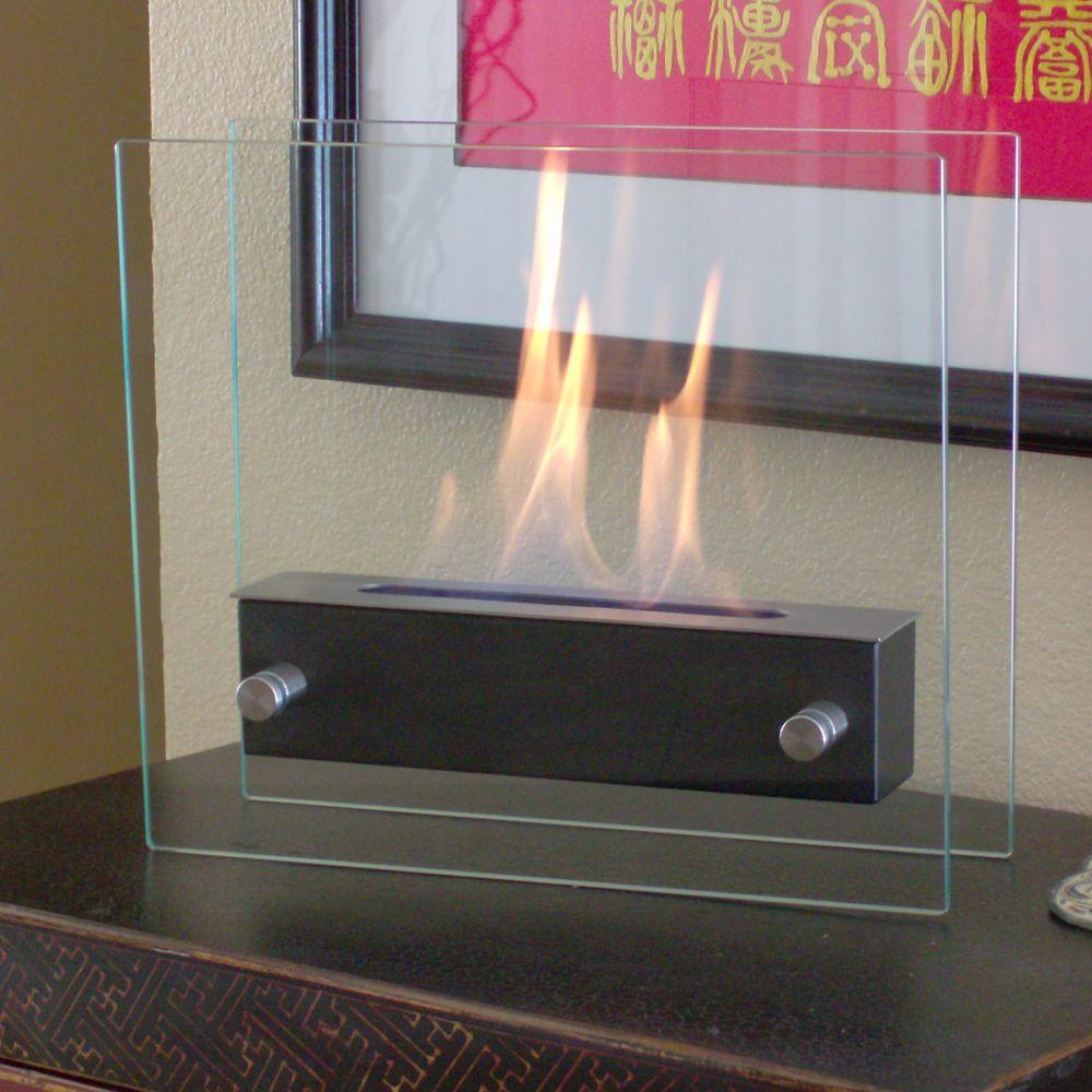 Irradia 13.7 in. Tabletop Decorative Bio-Ethanol Fireplace in Black