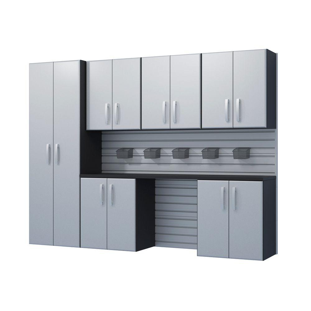Flow Wall 72 in. H x 96 in. W x 17 in. D Wall Mounted Garage Cabinet Set in Silver (7 Piece)