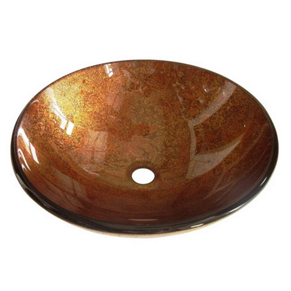 Glass Vessel Sink in Saddle Leather