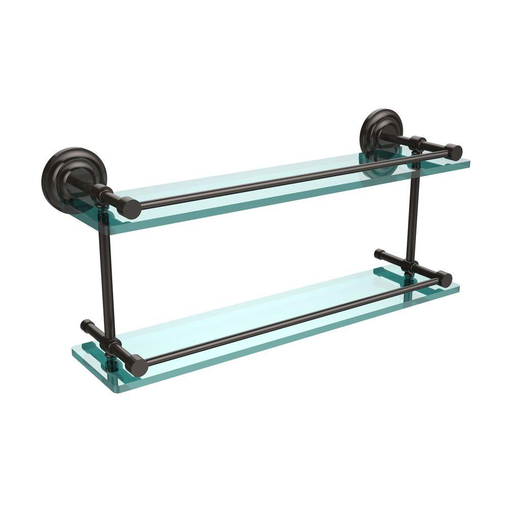 Que New 22 in. W Double Glass Shelf with Gallery Rail