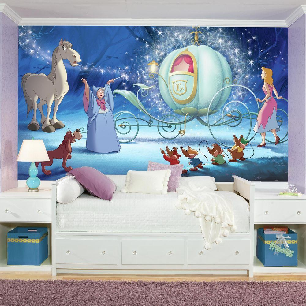 72 in. x 126 in. Disney Princess Cinderella Carriage XL Chair Rail 7-Panel Prepasted Mural, Multi