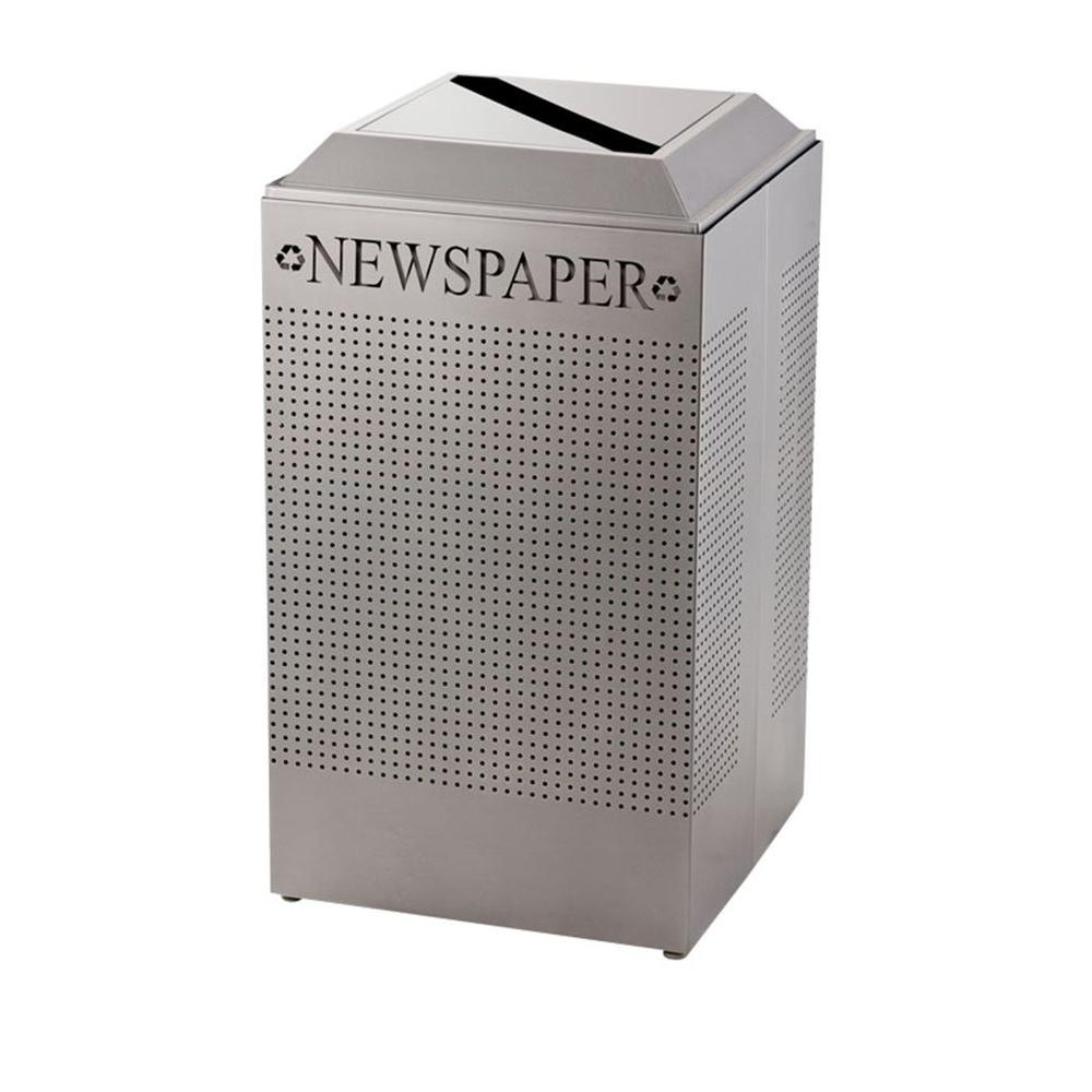 Rubbermaid Commercial Products Silhouette 29 Gal. Silver Square Paper Recycling Container