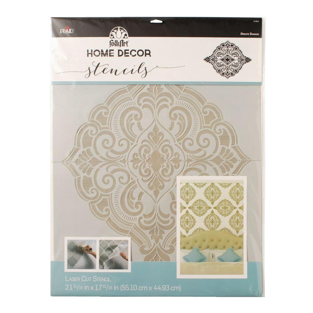 Home Decor Ornate Damask Wall Stencil (21.5 in. x 17.5 in.)