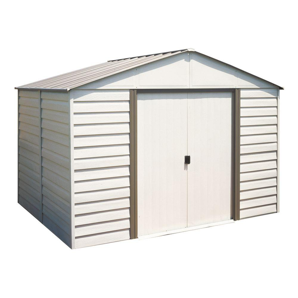 Arrow milford 10 ft x 8 ft vinyl coated steel storage for Building a storage shed