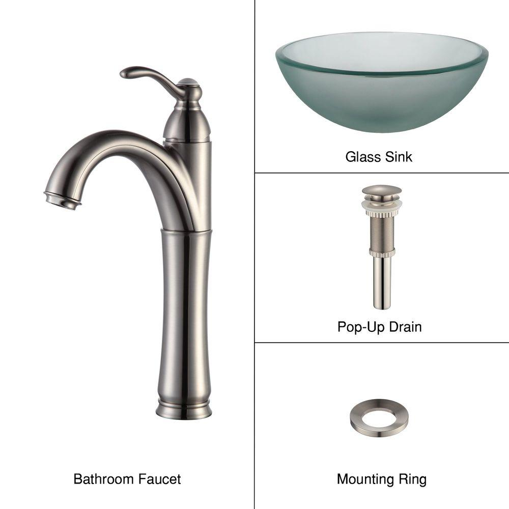 KRAUS Frosted Glass Vessel Sink in Clear with Single Hole Single-Handle High-Arc Riviera Faucet in Satin Nickel