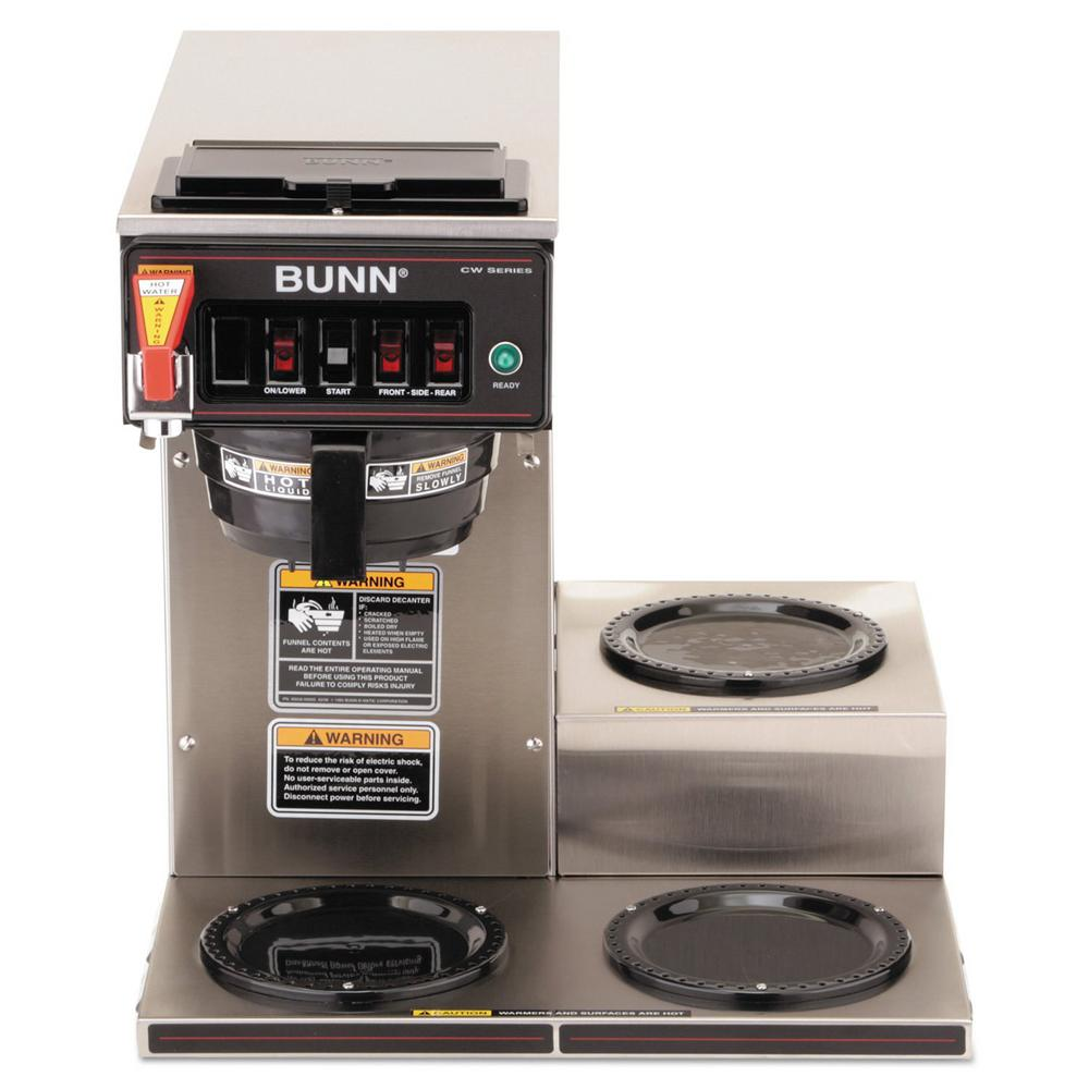 Bunn Coffee Maker Rental : Bunn CWTF-3 192 oz. Commercial Automatic Coffee Brewer with 3 Warmers-12950.0213 - The Home Depot