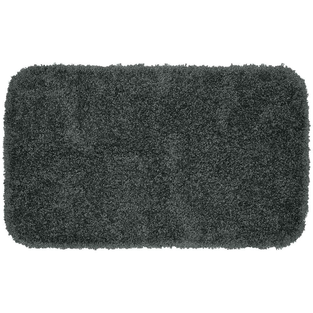 Garland Rug Serendipity Dark Gray 24 in. x 40 in. Washable Bathroom Accent Rug