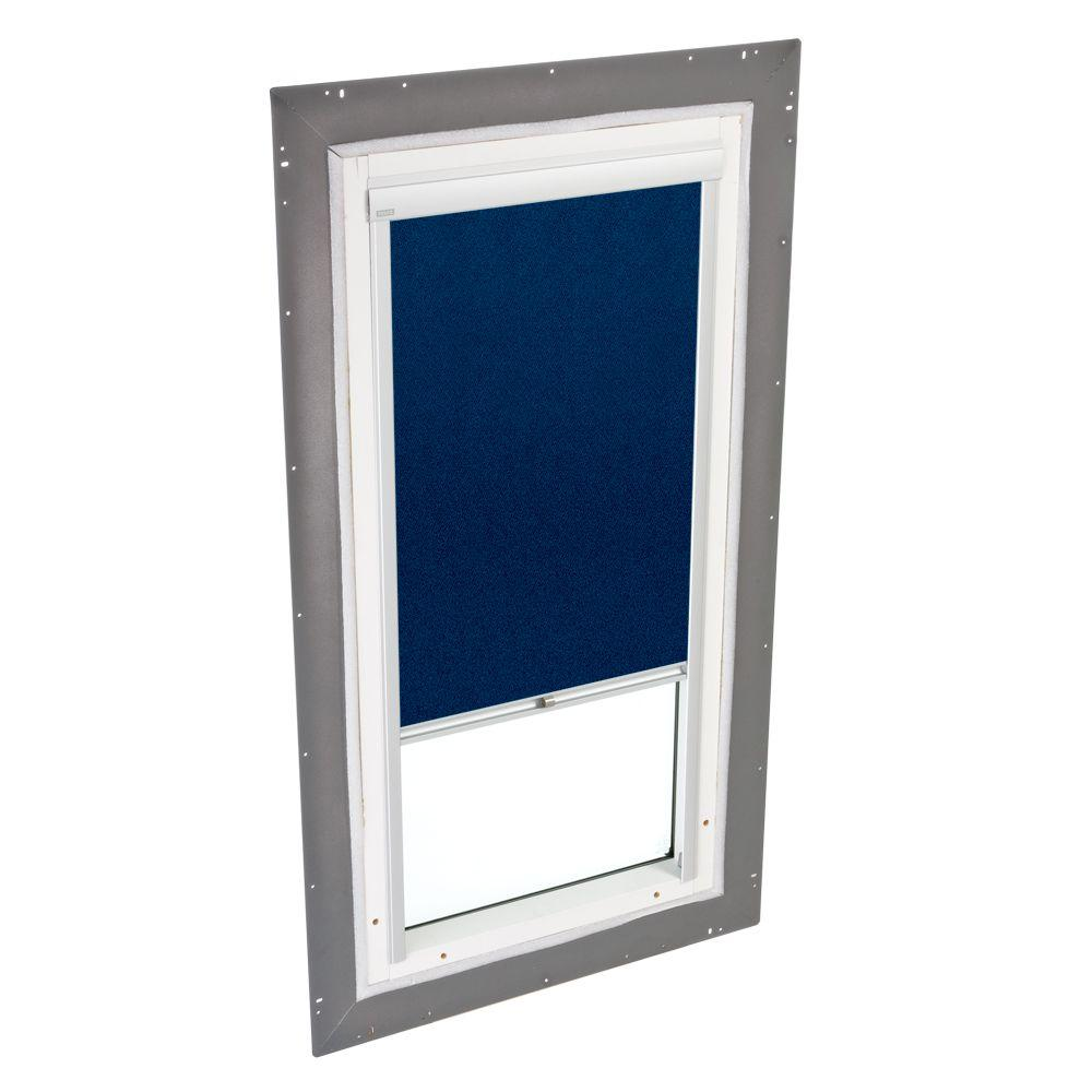 VELUX 22-1/2 x 22-1/2 in. Fixed Pan-Flashed Skylight Tempered LowE3 Glass and Dark Blue Manual Blackout Blind-DISCONTINUED
