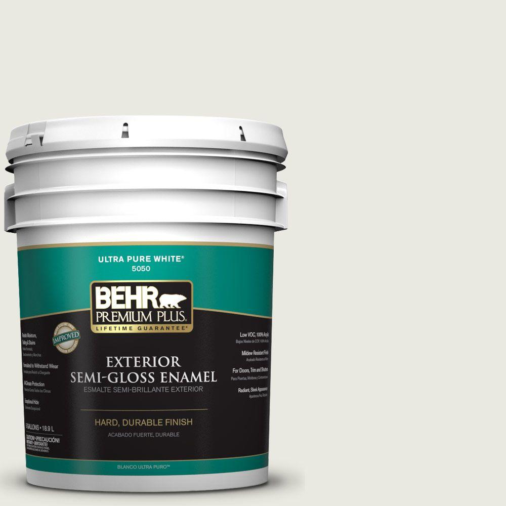 BEHR Premium Plus 5-gal. #GR-W7 Angel Feather Semi-Gloss Enamel Exterior Paint