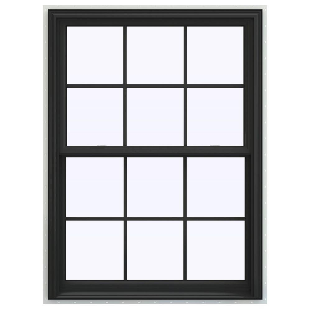 JELD-WEN 39.5 in. x 59.5 in. V-2500 Series Double Hung Vinyl Window with Grids - Bronze