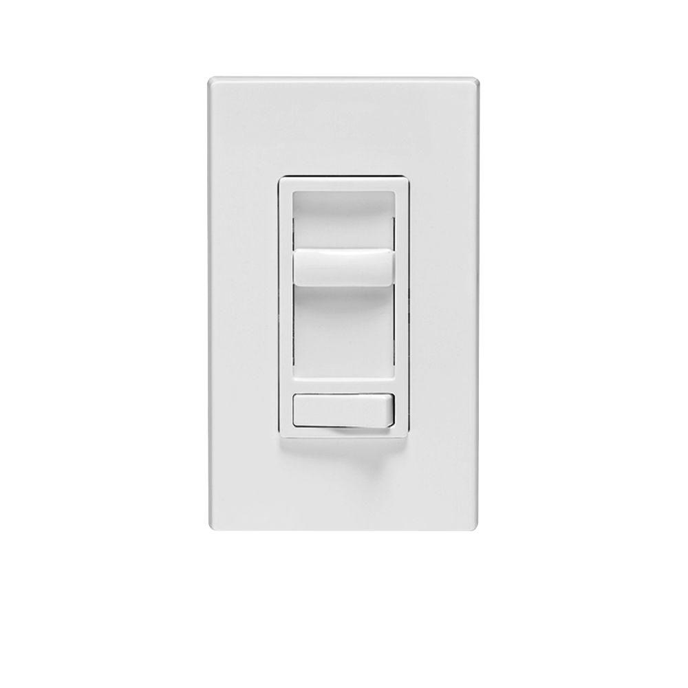 Leviton SureSlide 600-Watt Single-Pole/3-Way Incandescent-CFL-LED Slide Dimmer, White