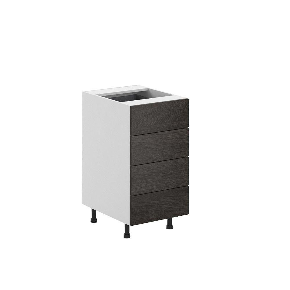 Eurostyle 18x34.5x24.5 in. Leeds 4-Drawer Base Cabinet in White Melamine and