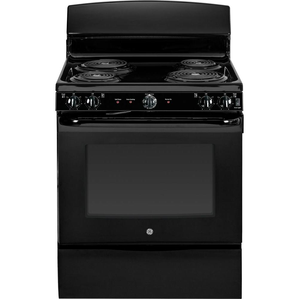 GE 5.0 cu. ft. Electric Range with Self-Cleaning Oven in Black-JB450DFBB