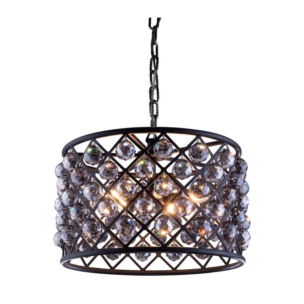 Madison 6-Light Mocha Brown Chandelier with Silver Shade Grey Crystal
