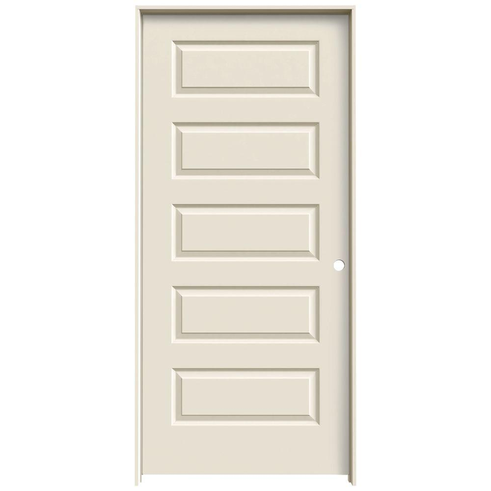 36 in. x 80 in. Molded Smooth 5-Panel Primed White Hollow