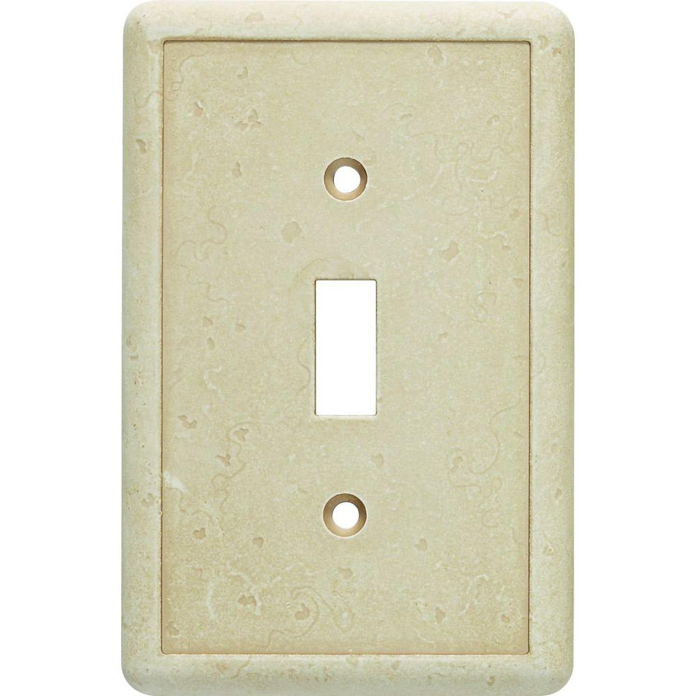 Hampton Bay 1 Toggle Wall Plate in Travertine-SWP102-01 - The Home