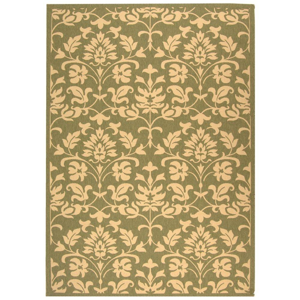 Courtyard Olive/Natural (Green/Natural) 8 ft. x 11 ft. Indoor/Outdoor Area Rug