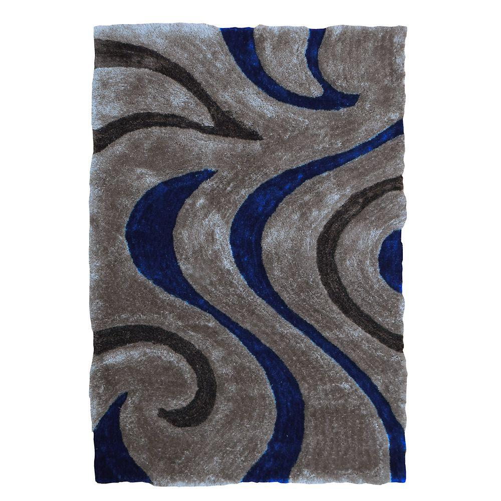 3D Shaggy Abstract Wavy Swirl Design Gray 5 ft. x 7