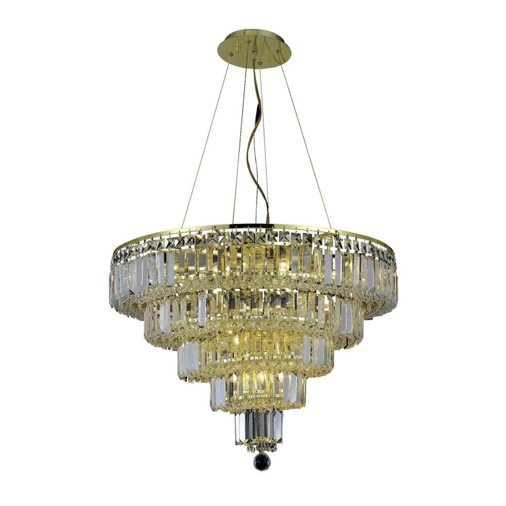 14-Light Gold Chandelier with Clear Crystal