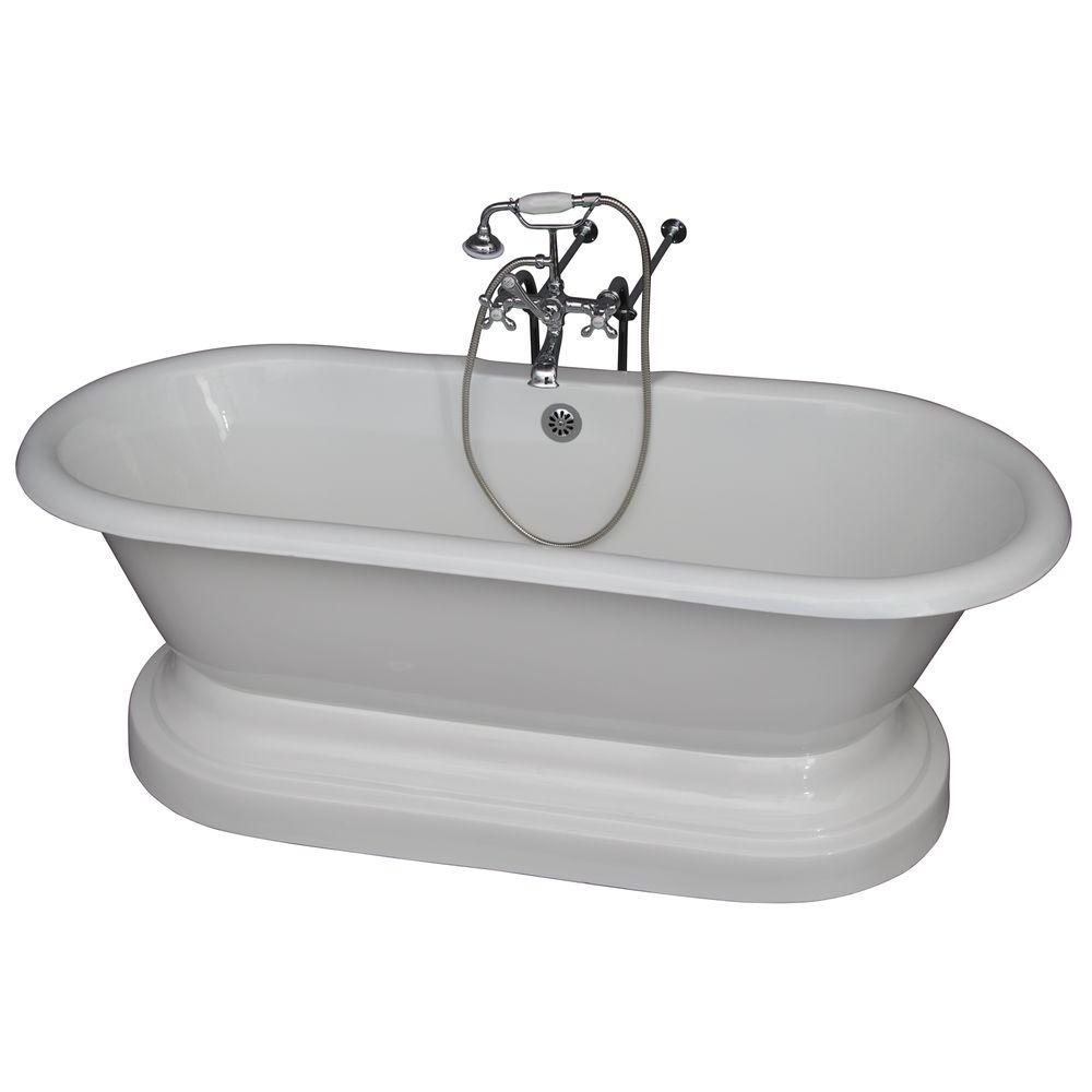 Barclay Products 5.6 ft. Cast Iron Double Roll Top Tub in White with Polished Chrome Accessories