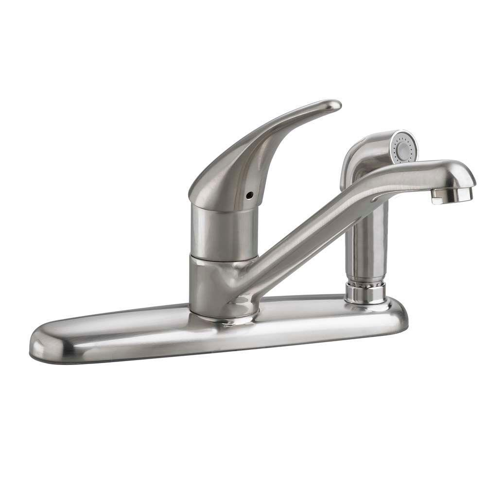 Colony Soft Single-Handle Standard Kitchen Faucet with Side Through Escutcheon