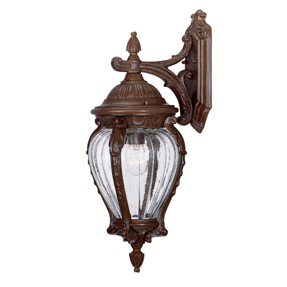 Nottingham Collection 1-Light Burled Walnut Outdoor Wall-Mount Fixture