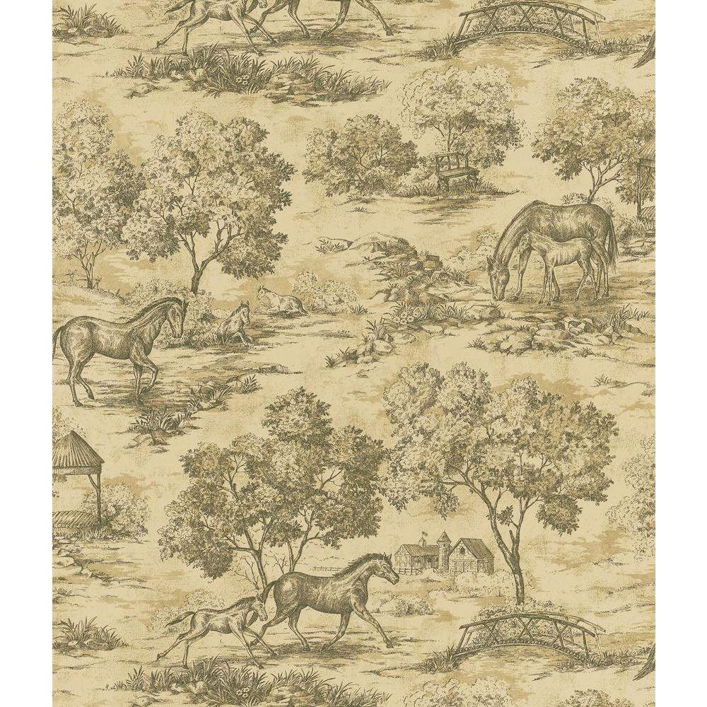 Brewster 56 sq. ft. Toile Wallpaper