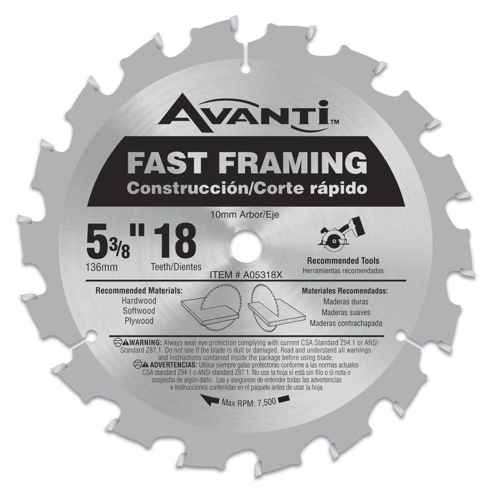 Avanti 5-3/8 in. x 18-Tooth Fast Framing Saw Blade