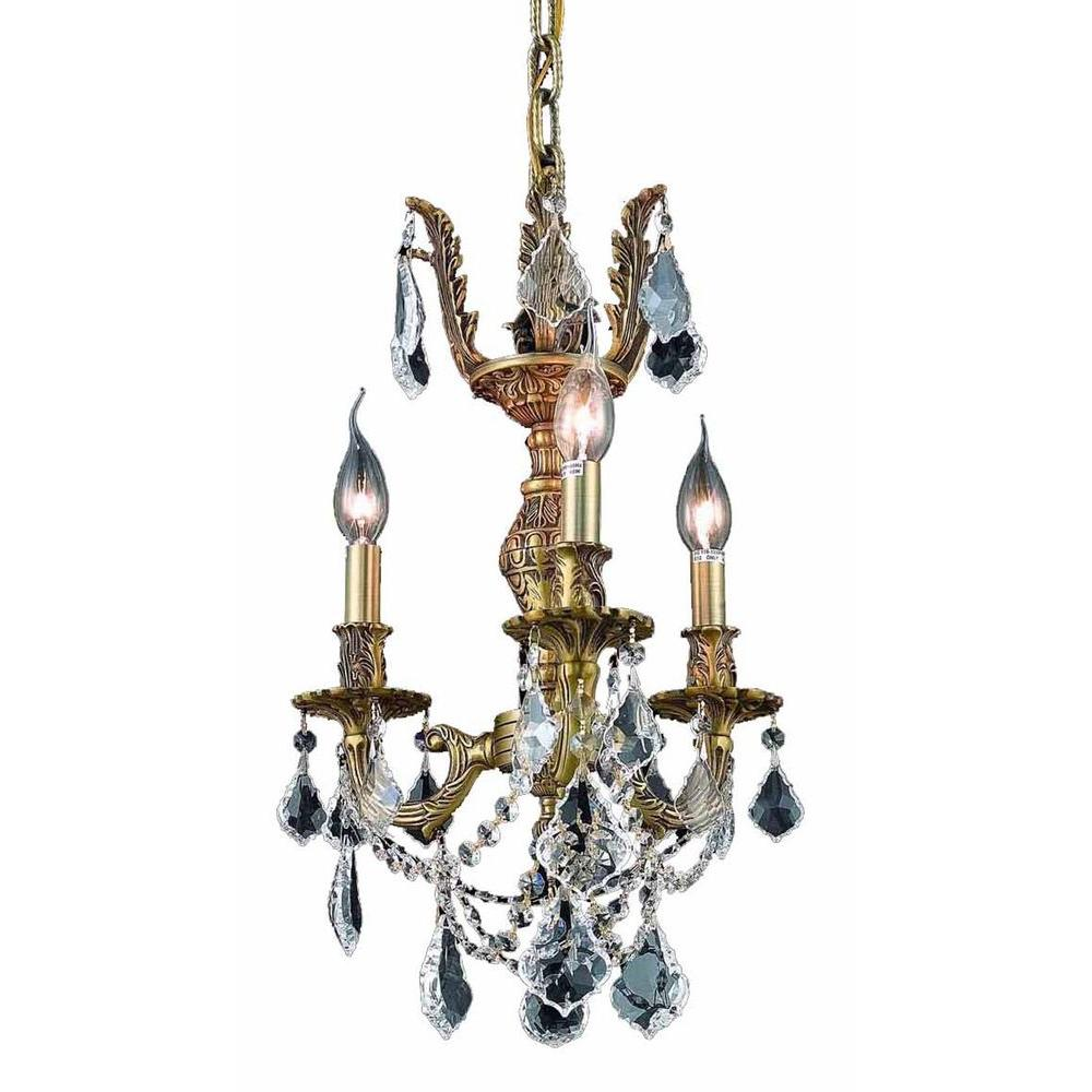 Elegant Lighting 3-Light French Gold Chandelier with Clear