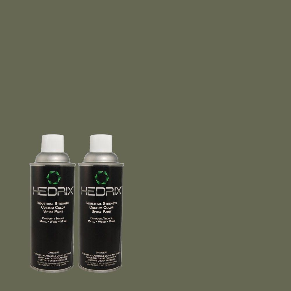 Hedrix 11 oz. Match of 322 Mountain Spruce Flat Custom Spray Paint (2-Pack)