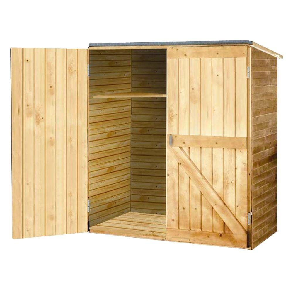 Caico Outdoor Furniture 2 ft. 7 in. x 5 ft. Wood Storage Shed-DISCONTINUED