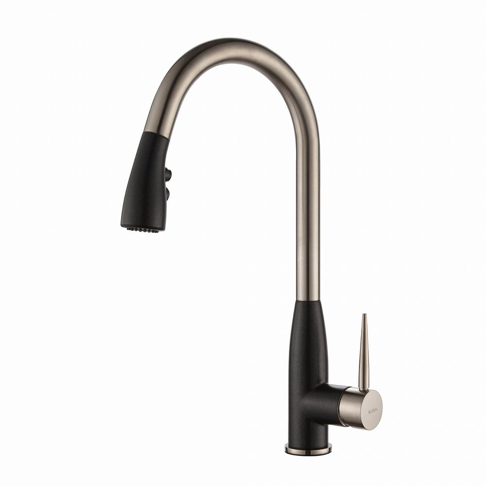 Geo Arch Single-Handle Pull-Down Sprayer Kitchen Faucet with Soap Dispenser in