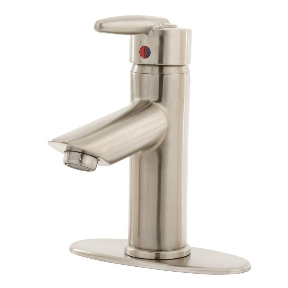 Delta Grail Single-Hole 1-Handle Mid-Arc Bathroom Faucet Less Pop-up Drain in Stainless Steel-DISCONTINUED
