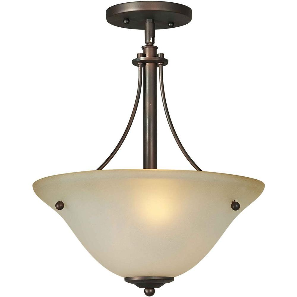 Talista 2-Light Antique Bronze Semi Flush Mount with Shaded Umber Glass