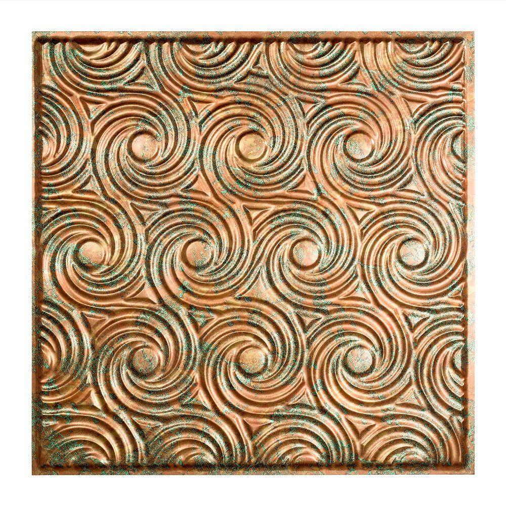 Fasade Cyclone - 2 ft. x 2 ft. Lay-in Ceiling Tile in Copper Fantasy