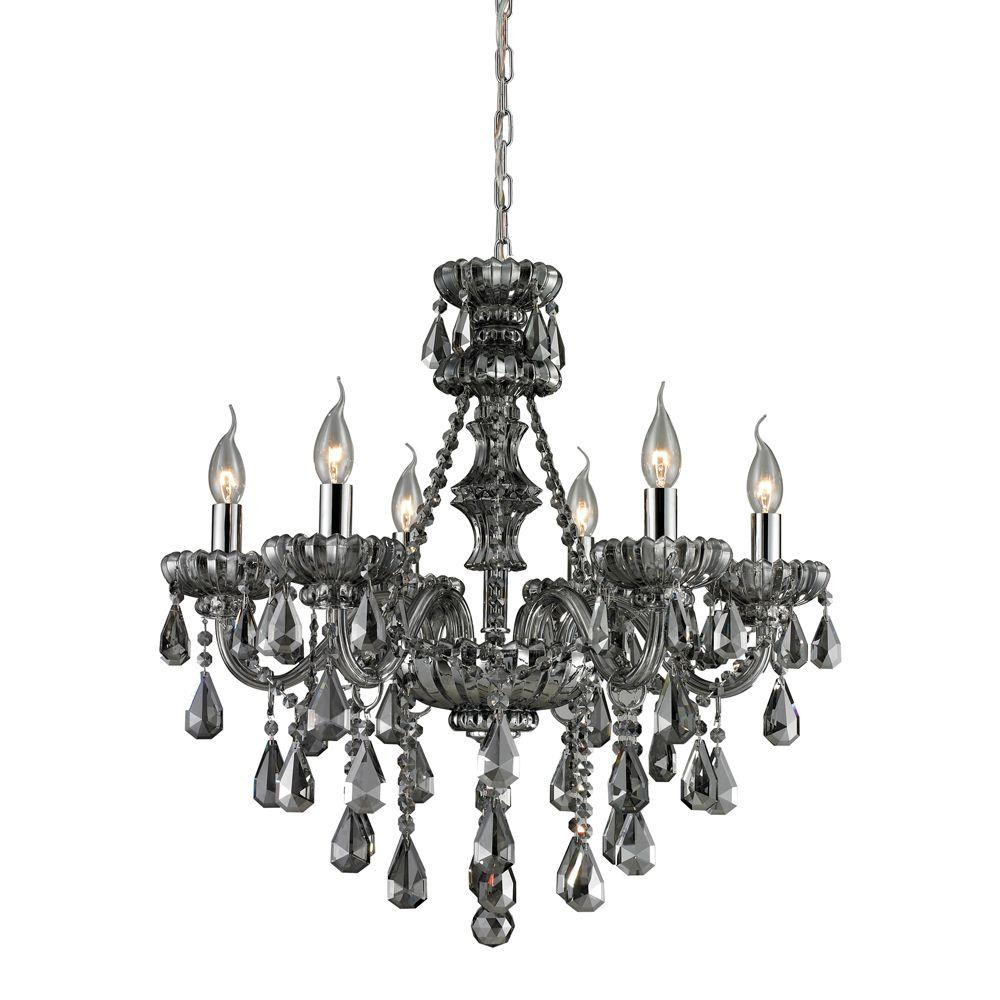 Titan Lighting 6-Light Chrome Ceiling Mount Chandelier-DISCONTINUED
