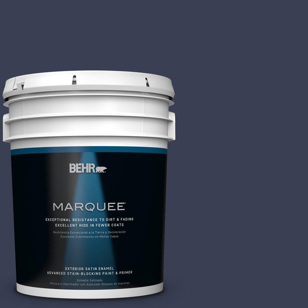 BEHR MARQUEE 5 gal. #HDC-CL-26A Indigo Ink Satin Enamel Exterior Paint-945305