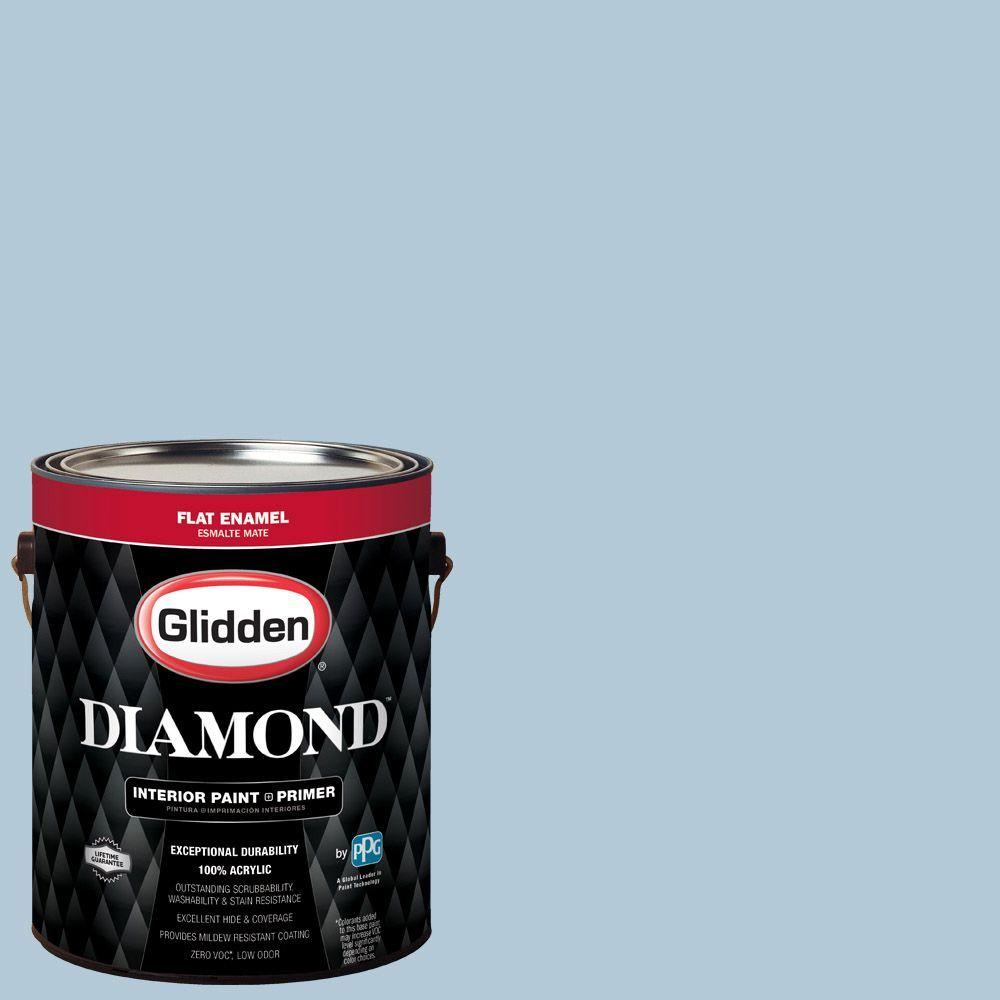 1 gal. #HDGB57D Island Morning Blue Flat Interior Paint with Primer
