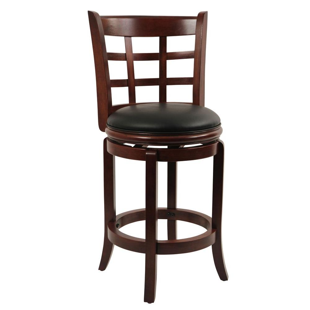 Kyoto 24 in. Cherry Swivel Cushioned Bar Stool