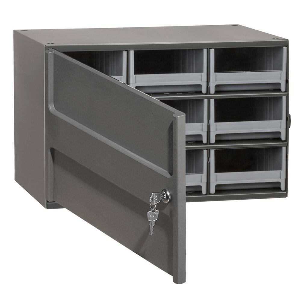 Akro Mils 9 Drawer Small Parts Steel Cabinet With Locking Door