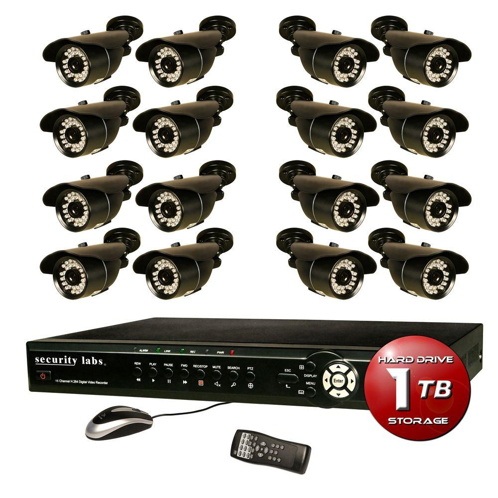 Security Labs 16-Channel Surveillance System with 1TB HDD and (16) 700TVL Camera
