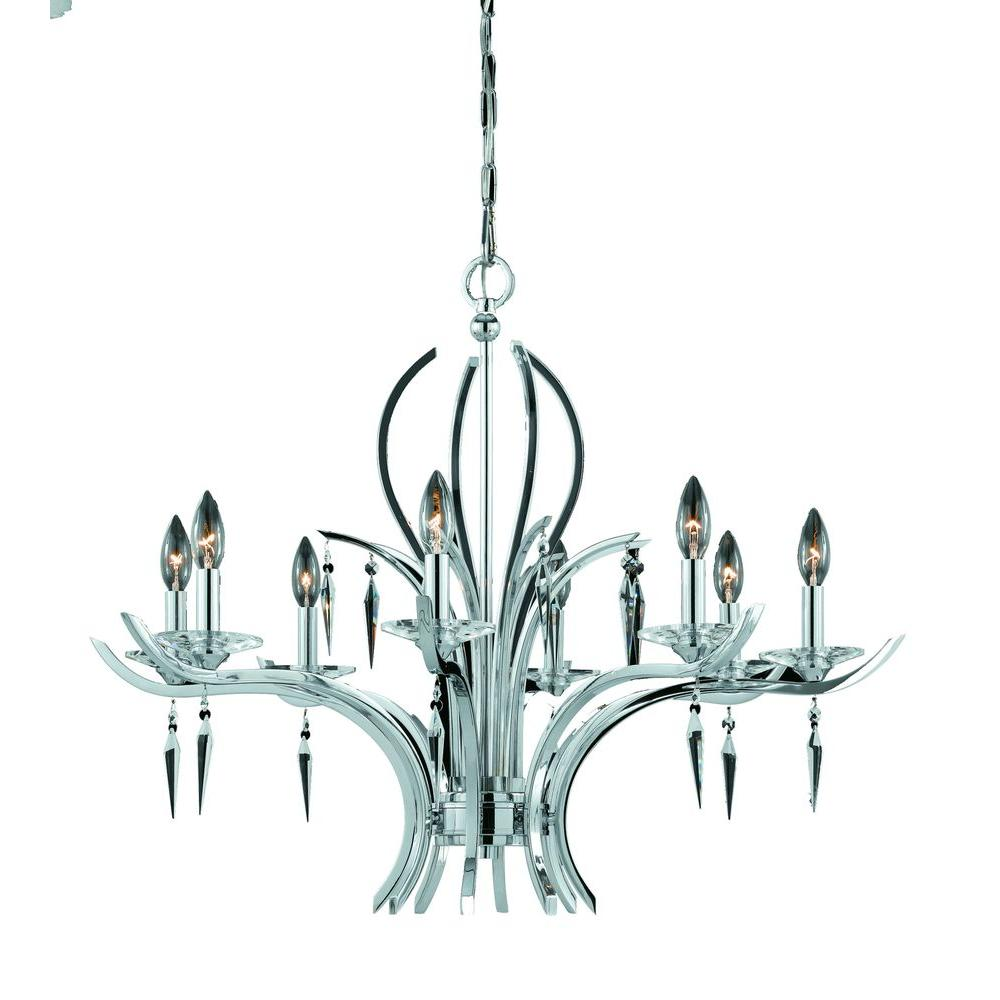 Illumine 8-Light Chrome Plated Chandelier with Crystal Drops