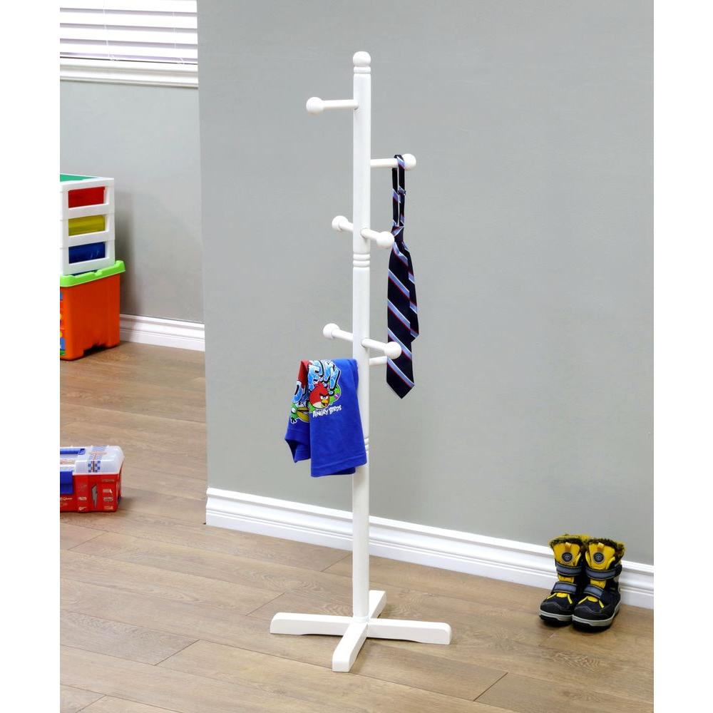MegaHome 8-Hook Kid's Coat Rack in White-WH101 - The Home Depot
