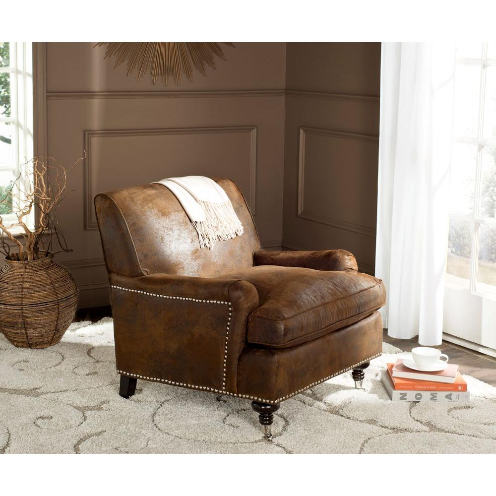 Distressed faux leather chair - Chloe Brown Faux Leather Club Arm Chair