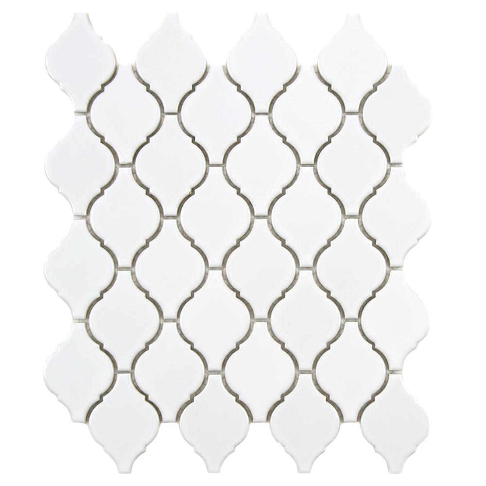 Arabesque Glossy White 9-7/8 in. x 11-1/8 in. x 6 mm Porcelain Mosaic Tile