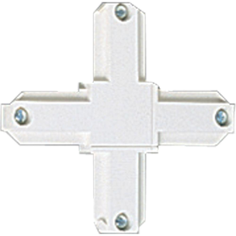 Alpha Trak White Track Lighting Cross Connector Accessory