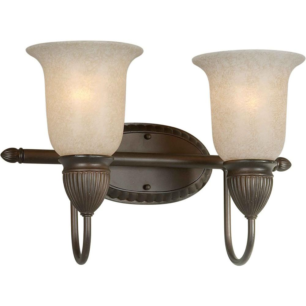 Talista 2-Light Antique Bronze Bath Vanity Light with Mica Flake Glass